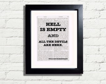 William Shakespeare Hell is Empty and all the devils are here Inspirational Quote INSTANT DIGITAL DOWNLOAD A4 Printable Picture Wall Hanging