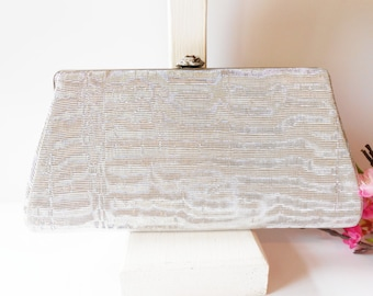 Silver Evening Bag, Vintage Silver Purse, Clutch Handbag, Evening Purse, Silver Clutch Bag, Formal Purse  EB-0644