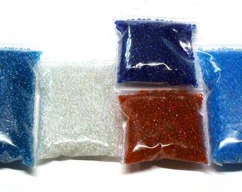 Destash Lot of 6.9 Oz. of Transparent Glass Seed Beads Size 11, Destash Beads, Destash Beads Lot, Seed Beads Lot