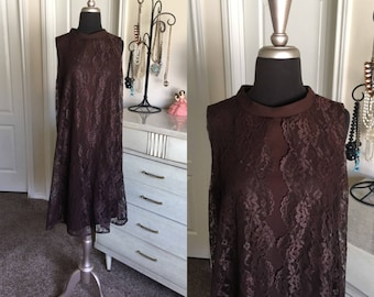 Vintage 1960's Vicky Vaughn Chocolate Brown Dress with Lace Overlay Medium