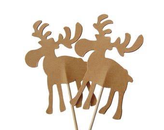 Moose Cupcake Toppers 12CT, Woodland Baby Shower Party Decorations, Moose Party Picks, Lumberjack Theme Party Decor, Kraft Brown - No486