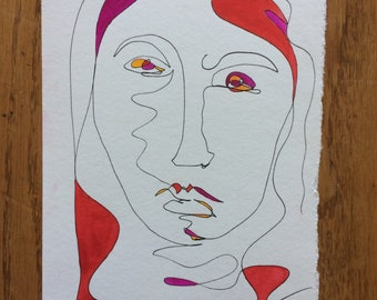 One Line Pen and Watercolour Semi Abstract Female Portrait