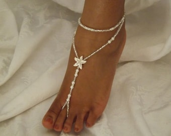 White Pearl Starfish Barefoot Sandals Rhinestone Foot Jewelry Beach Wedding Anklet And Feet Sandals Bridesmaids Gift