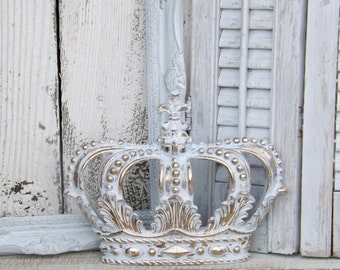 White and Gold Crown~ Crown Wall Decor~Nursery Wall Decor~Princess Crown~Shabby Chic