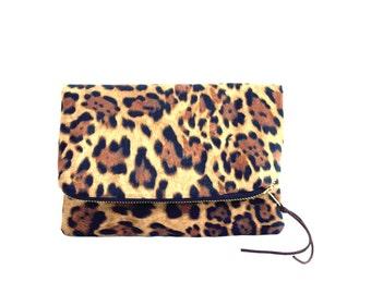 Foldover Clutch, Leopard Print Foldover Clutch , Leopard Print Handbag , Animal Print Clutch , Leopard Clutch, Animal Clutch