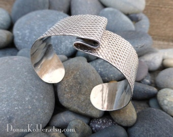 Sterling Silver Cuff Bracelet Hand Formed Sleek Simple Lines