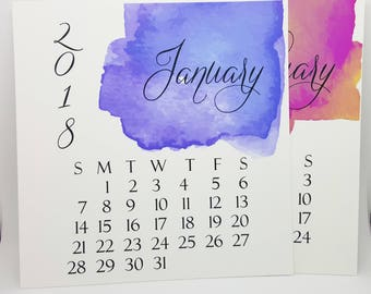 2018 Calendar, Holiday Gift, Desk Calendar, Gift Under 20, Teacher Gift, Watercolor Calendar, 2018 Desk Calendar, Calendar, Desktop Calendar