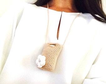 Necklace - beige necklace - crochet necklace - little bag necklace - crochet beige mini bag