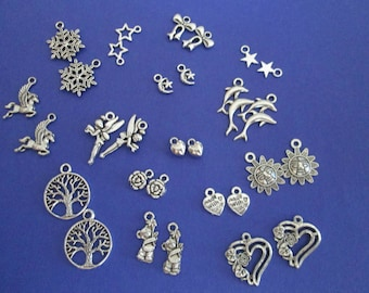 x 30 mixed silver charms 15 different patterns #2
