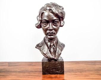 Rare Amelia Earhart Vintage Curtis Aviator Sculpture Signed Rudier Bust Statue, Unique Aviation Home Decoration, Inspirational Famous Women