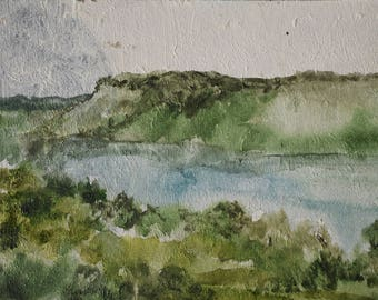 original painting Kazimierz view, watercolors on cardboard, art lover gift