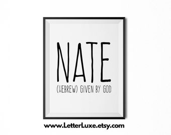 Nate Printable Kids Gift - Name Meaning Art - Baby Shower Gift - Nursery Art - Digital Print - Nursery Decor - Typography Wall Decor