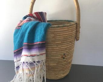 vintage large handled lidded coil basket boho decor storage