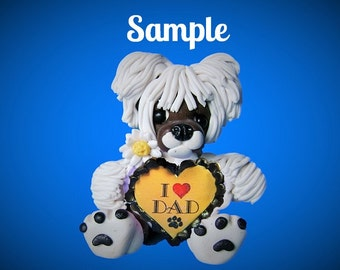 Chinese Crested Dog Father's Day Sculpture love DAD OOAK Clay art by Sally's Bits of Clay