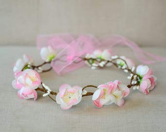 THE GYP - Bridal White and Pink Flower Crown Floral Wreath Woodland Rustic Circlet Bride Wedding Romantic Elegant Flower Girl