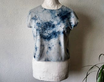 Blue white cropped tshirt top festival clothing boho womens raw hem earthy natural dyes rustic minimalist hippie gaia earthy bohemian gypsy