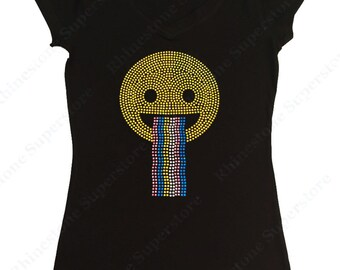 """Women's Rhinestud T-Shirt """" Happy Face with Rainbow """" in S, M, L, 1X, 2X, 3X"""