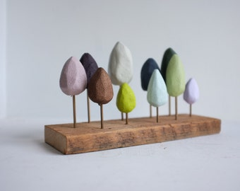 Paint swatch tabletop forest - small hand carved trees in pastels and jewel tones - rustic woods table centerpiece foresr