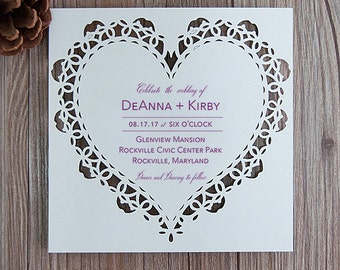 Heart Laser Cut Wedding Invitations Heart Wedding Die Cut Laser Cut Rustic Kraft Wedding Invites Laser Cut Hearts