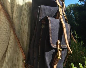 Backpack, Jean with Leather straps Backpack,Rucksack, Shoulder Bag, Handmade Cross-body Bag, Retro Metropolitan Fashion, Gift for her