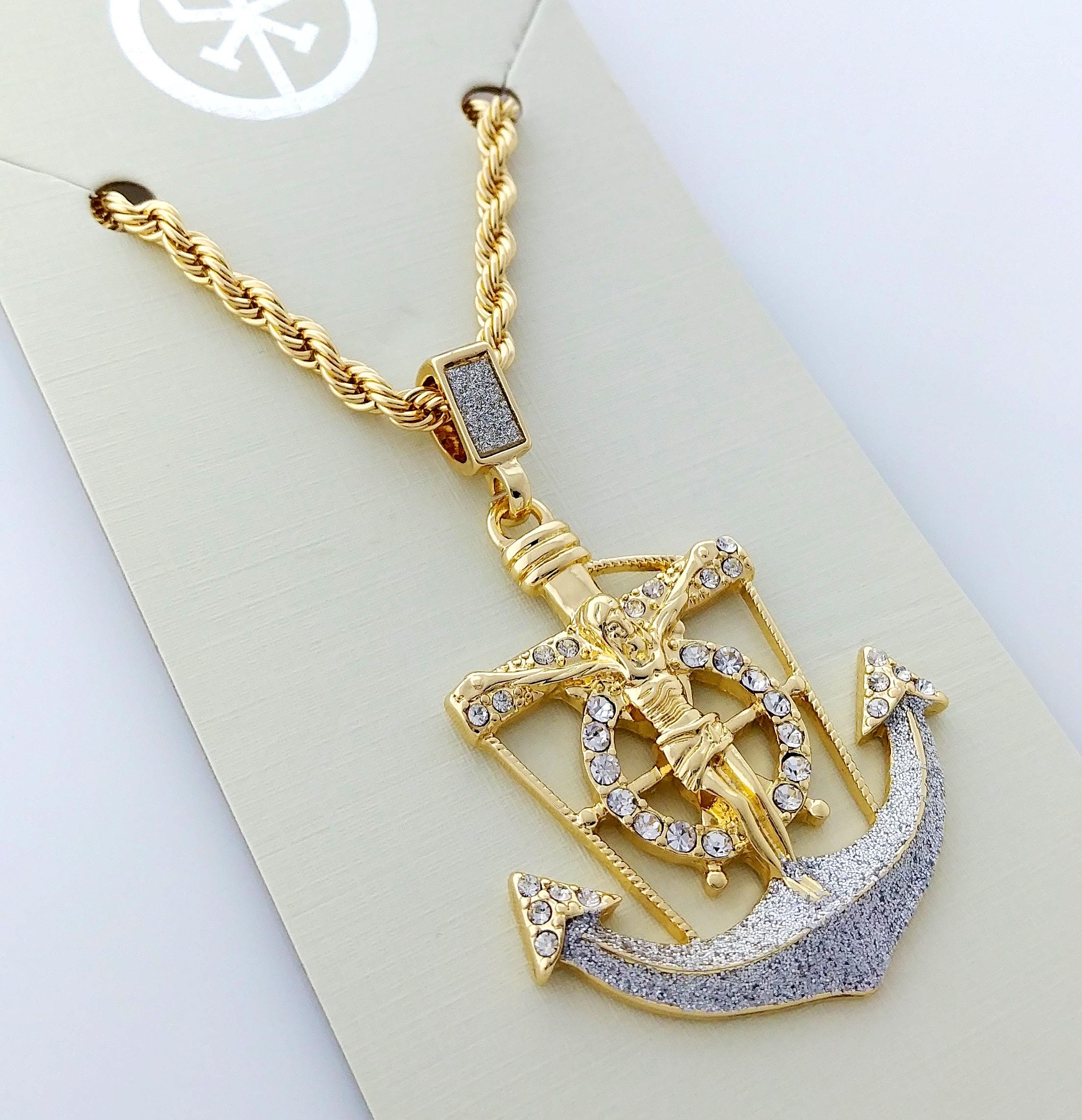 love gold anchor pendant rose annoushka necklace gallery jewelry chain lyst diamonds