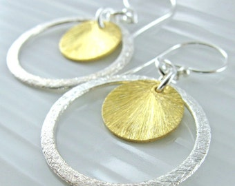 Brushed Two Tone Circle Earrings - Textured Sterling Silver and Vermeil