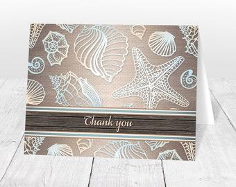 Beach Thank You Cards - Wood Rustic Beach Seashell - Rustic Seashell Thank You Cards - Folded Printed Cards