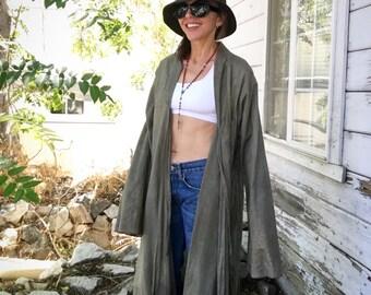Vintage 90 coat,light cotton,ethic,tribal,slouchy,XL,olive,bronze,details,pockets,organic,urban,green,long,long sleeve,boho,chic,hippie