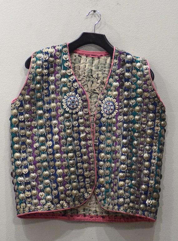 Vest Wedding Middle Eastern Woven Cotton Beaded Pendant Coin Vest