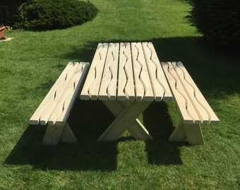 solid wood chunky garden table and benches