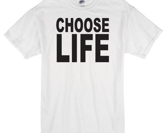 Choose Life T-Shirt white 100% cotton wham 80's george michael