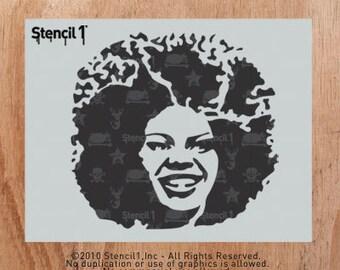 Afro Girl Stencil- Reusable Craft & DIY Stencils- S1_01_08 -8.5x11- By Stencil1