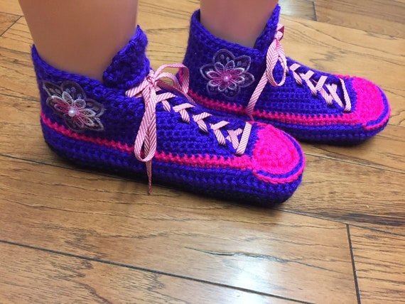 shoes sneakers crocheted 8 tennis crochet purple 397 tennis flower 10 sneaker slippers slippers Crocheted shoes womens pink slippers Listing A1O5qxw