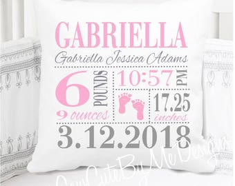 New Baby Gift - Personalized - Girls Birth Announcement Pillow - Footprints - Nursery Pillow - New Baby Gift - Personalized
