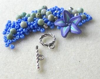Polymer Clay Flower Bead Jade Czech Glass Gemstone Beads  Blue Green Silver Pewter Bracelet Beads Kit DIY Jewelry Kit DIY