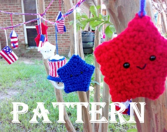 CROCHET 4th of July Garland PATTERN Independence Day, 4th of July Bunting, 4th of July Banner, American Garland, Red White and Blue Garland