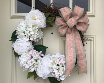 White Hydrangea and Peony Grapevine Wreath with Burlap Bow