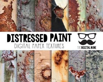 Premium Digital Paper Set, Distressed Paint, Scrapbook Paper, Digital Paper, Distressed Paint Textures, Instant Download