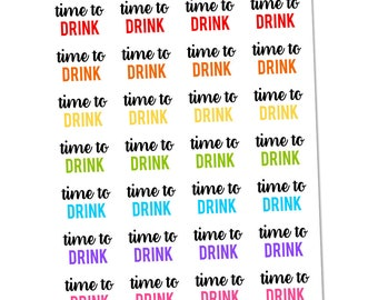 Time To Drink Planner Stickers, Functional Stickers, Saying Stickers, Night Out Stickers