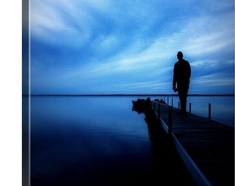 16 x 20  Canvas Print - Dusk After Storm in Michigan - Beach - Serene - Black - Blue