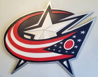 Columbus Blue Jackets handmade two dimensional wood sign