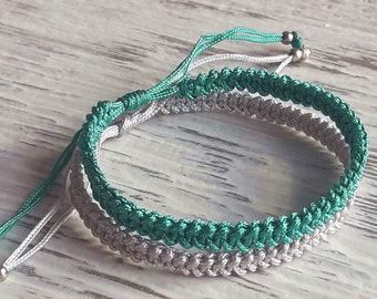 Set of 2 Knotted Bracelets Couple bracelets , Friendship bracelets , Matching Macrame