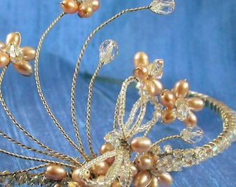 Swarovski Crystal and Freshwater Pearl Dragonfly Bridal Tiara with Blush Pink Pearl and Crystal Flowers