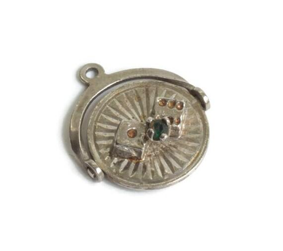 Las Vegas Spinner Charm Dice Rhinestone Sterling Silver Vintage