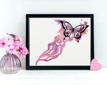 Pink Butterfly Art, Watercolor Butterfly Art Print, Monarch Art Print, Butterfly Wall Art Decor, Butterfly Gift, Butterfly Matte Paper
