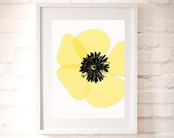 Yellow Poppy flower - fine art print, summer flower, poppy art, illustration, california poppy, yellow poppy flower