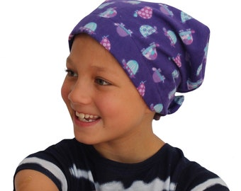 Jaye Children's Flannel Head Scarf, Girl's Cancer Hat, Chemo Head Cover, Alopecia Hat, Head Wrap, Cancer Gift, Hair Loss - Purple Turtles