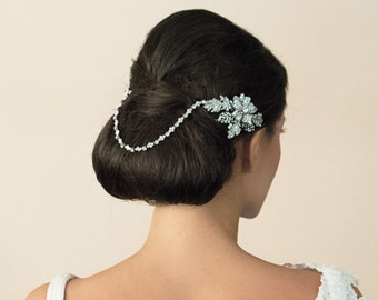 1920's Art Deco - The Great Gatsby - Floral draping  Swarovski Crystal  & Pearls Headpiece -  Hair vine