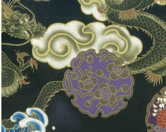 Fat Quarter Hiko Japanese Oriental Dragon Sewing Cotton Quilting Fabric