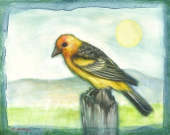 Western Tanager Archival Print~Tanager Art gift idea for her